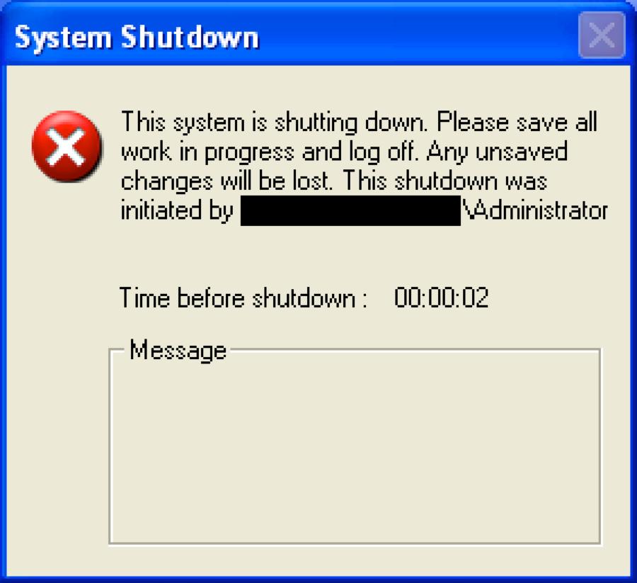 図1 ワイパー コンポーネントが'shutdown'コマンドを実行したときに表示されるダイアログ プロンプト