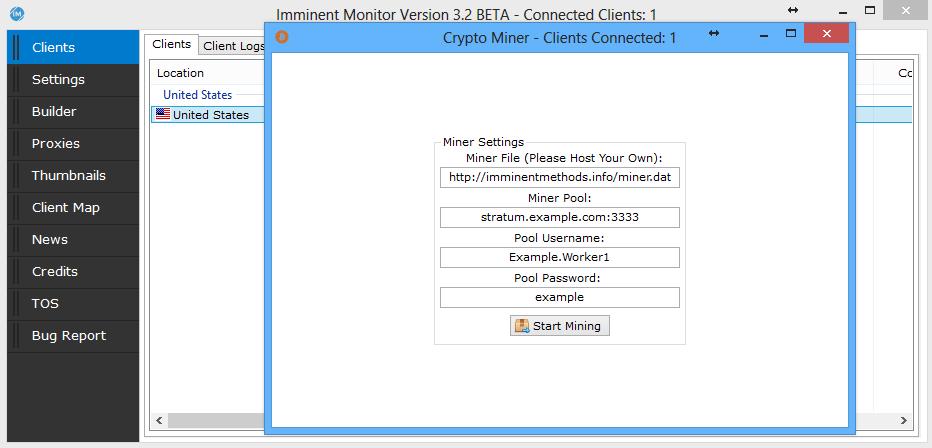 図7 Imminent Monitorクライアントの仮想通貨マイニング機能