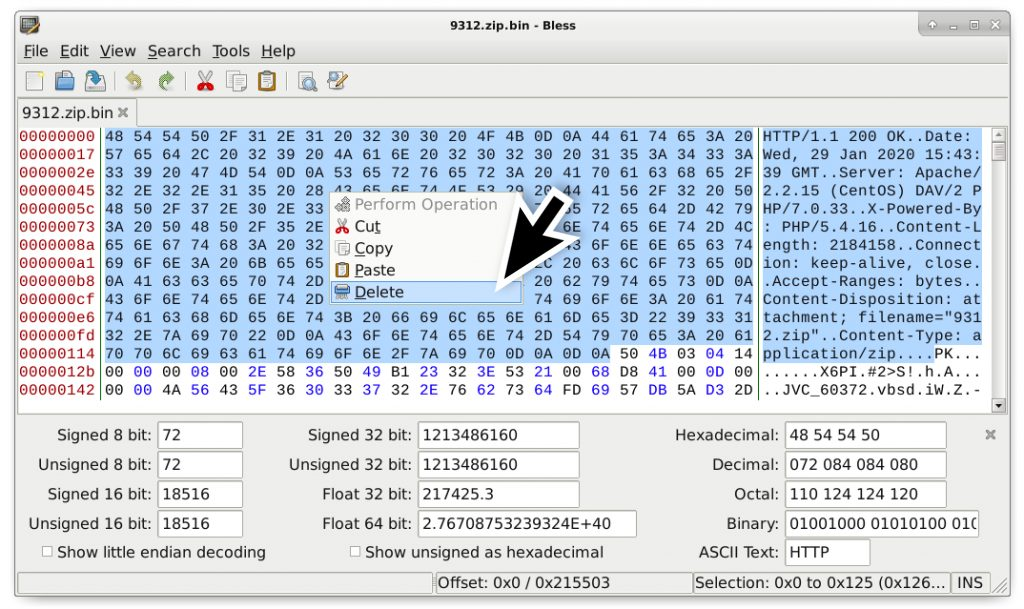 Figure 12. Step 5 – Open your saved binary in a hex editor and remove any HTTP response data before the first two bytes of the zip archive (that show as PK in ASCII).