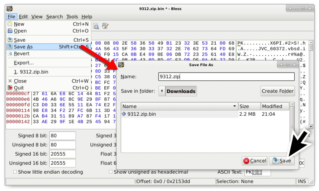 Figure 13. Step 6 – Save your edited binary as a zip archive.