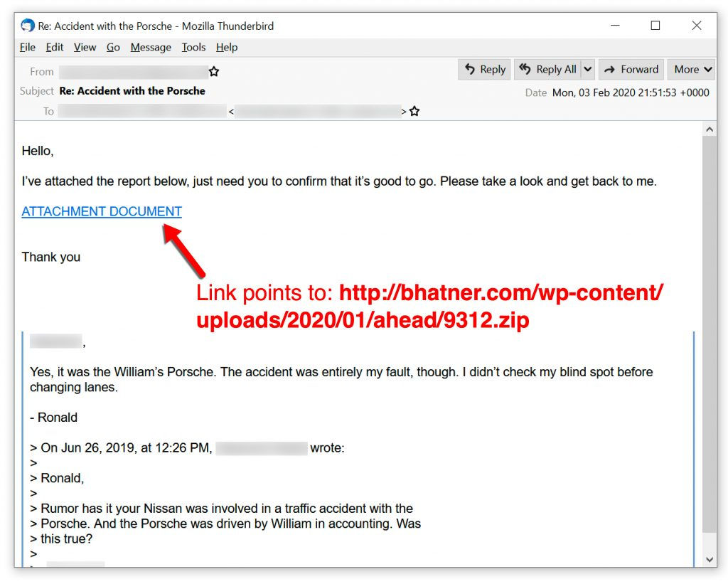 Figure 3. Recent malspam example pushing Qakbot.