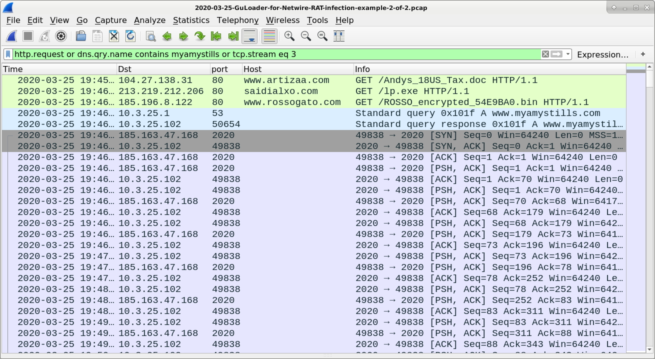 Figure 10. NetWire RAT infection traffic associated with Andys_18US_Tax.doc and GuLoader filtered in Wireshark