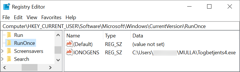 Figure 11. First example of GuLoader persistent through the Windows Registry.