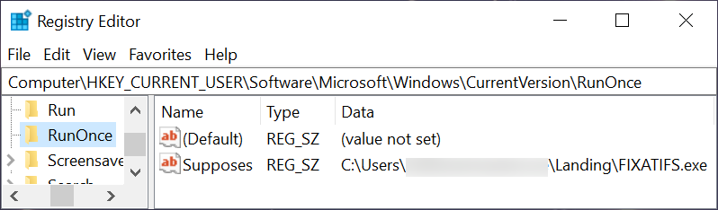 Figure 12. Second example of GuLoader persistent through the Windows Registry