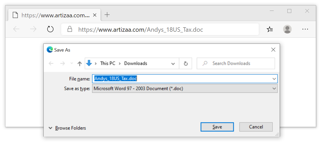 Figure 3. Downloading a malicious Word document from the link in the malspam