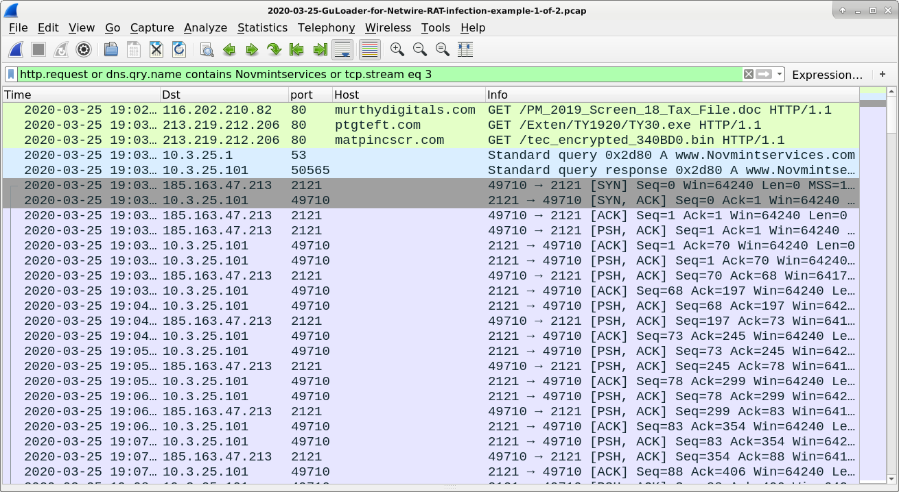 Figure 9. NetWire RAT infection traffic associated with PM_2019_Screen_18_Tax_File.doc and GuLoader filtered in Wireshark