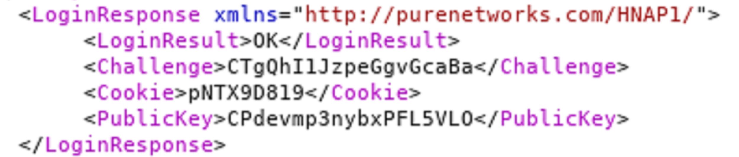 図7: チャレンジ、Cookie、および公開鍵のクリアテキスト送信