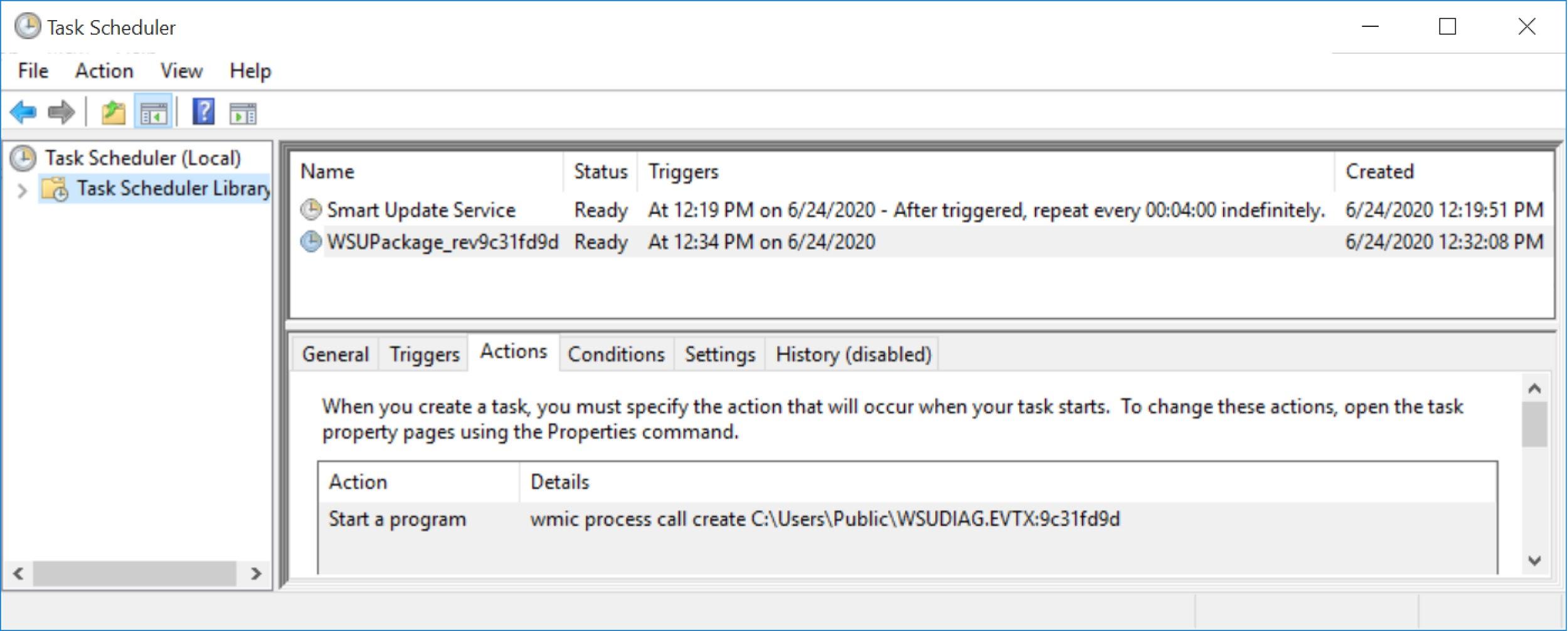 スクリーンショットには、Smart Update Serviceに加え、フォローアップマルウェア(WSUPackage...)を実行するための追加のスケジュールされたタスクが示されています。