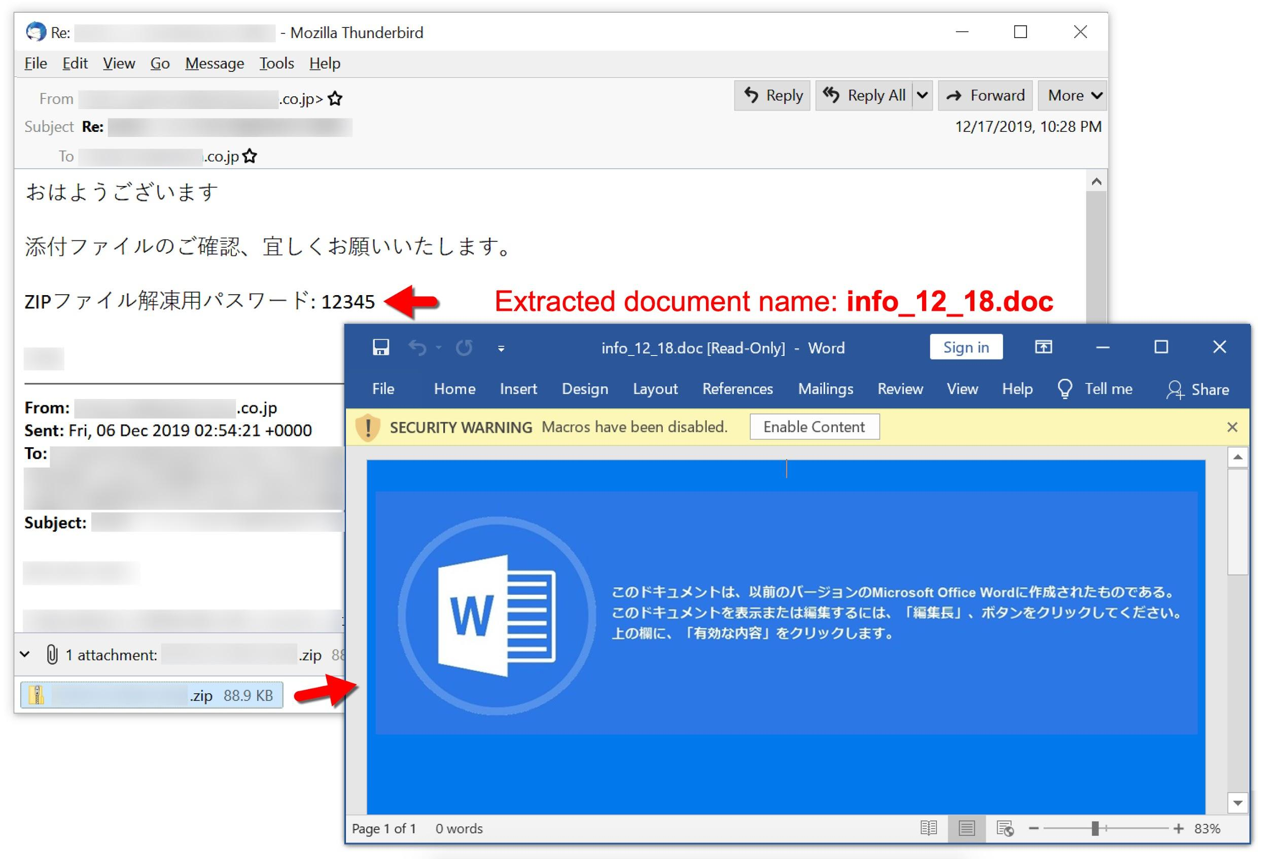 スクリーンショットには日本語のあいさつ文が含まれています。続いてZIPのパスワードと完了手順が示されています。抽出された文書info_12_18が開き、マクロを有効化するようにユーザーをだますメッセージが表示されます。