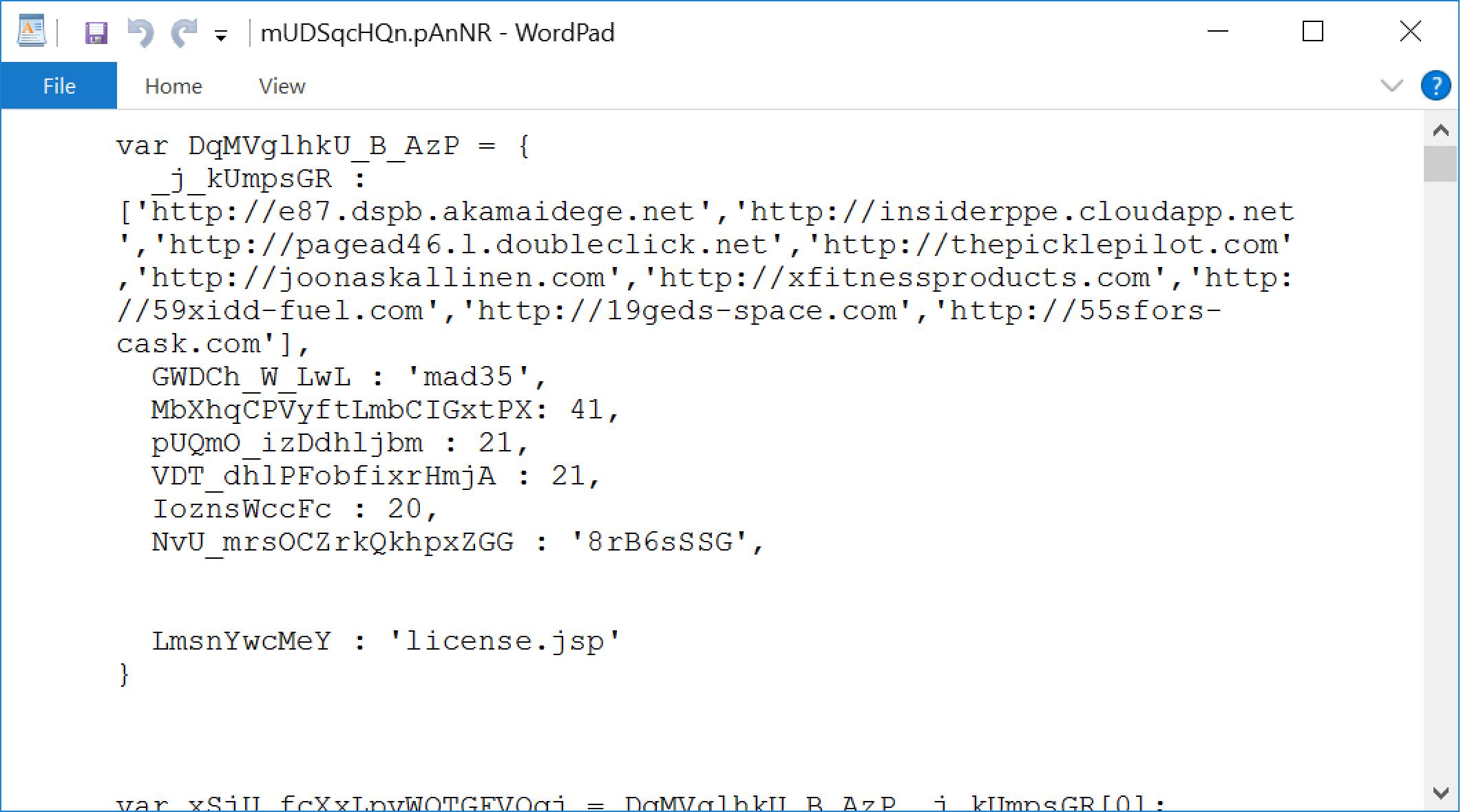 スクリーンショットは、JavaScript設定ファイルで、Valakにより変数名がどのように難読化されているかを示しています。これは、2020年6月以降確認されている難読化の例です。