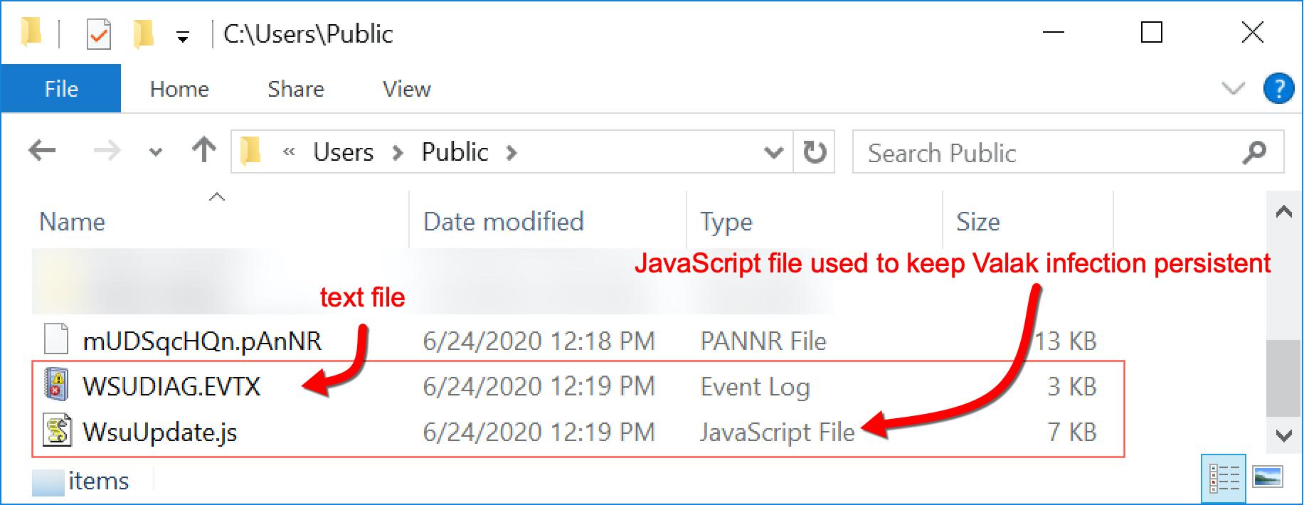 ランダムに命名されたテキストファイルとJavaScript (JS)ファイルの両方が、C:\Users\Public\ディレクトリ下に作成されます。