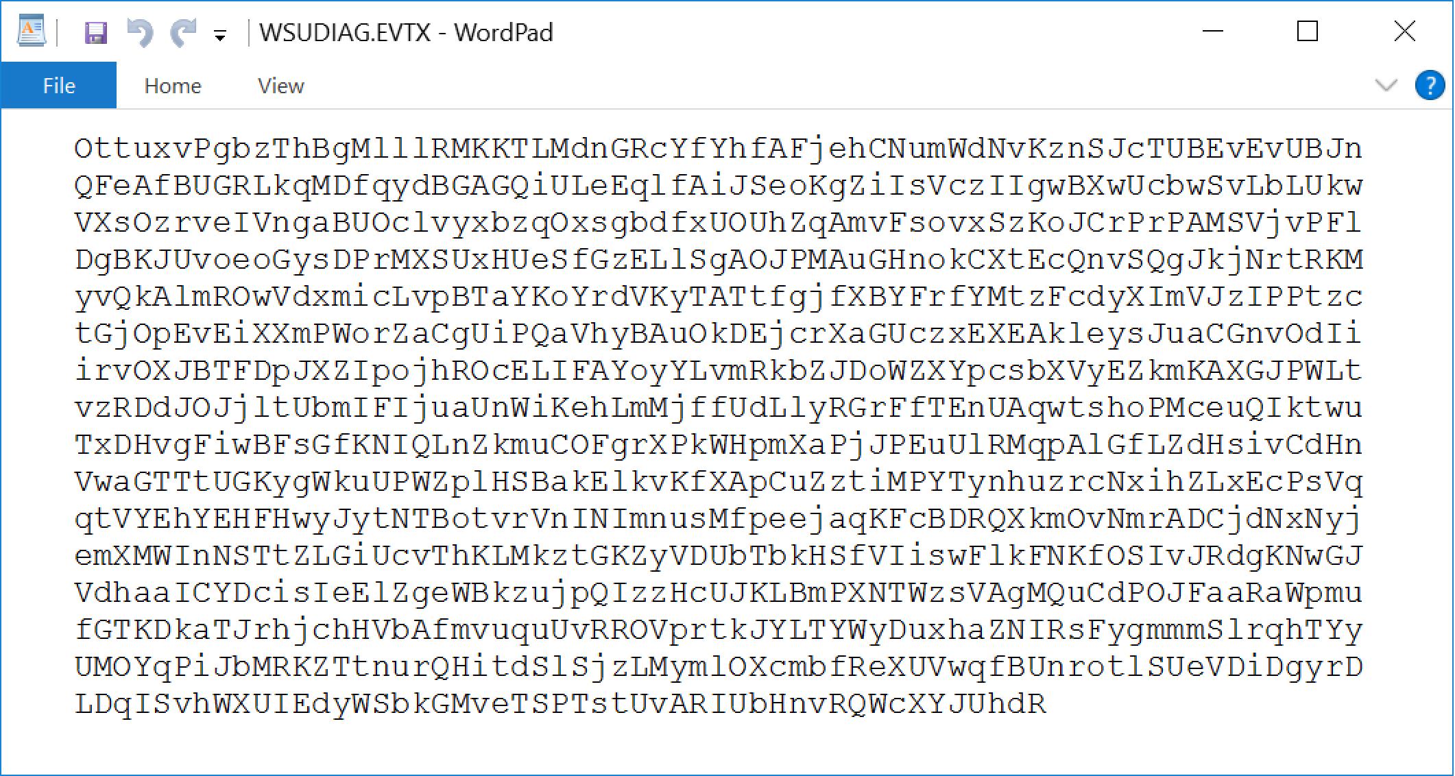 WordPadで表示すると、テキストファイルの内容がランダムな文字列であることがわかります。