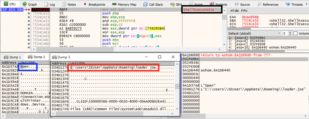 この図は、エンコードされたファイルがShellExecute関数により実行された後、c.jsファイルが自身を削除することを示しています。