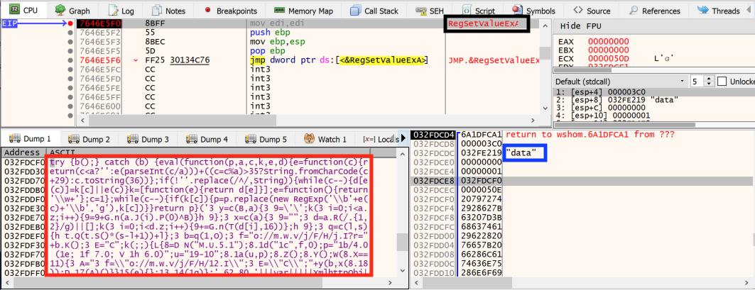 この図は、c.jsファイルによりどのようにレジストリキーが作成され、このキーに値を設定して、パックされたJScriptコードを格納するかを示しています。