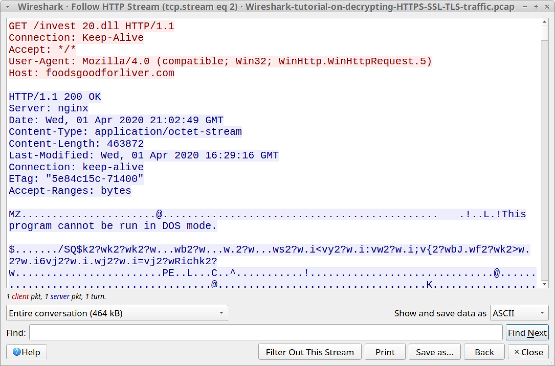 Wireshark で Wireshark-tutorial-on-decrypting-HTTPS-SSL-TLS-traffic.pcap に含まれる HTTP ストリーム(tcp.stream eq 2)を追跡しているスクリーンショット。HTTPストリームはサーバーからEXEないしDLLを返す様子を示している