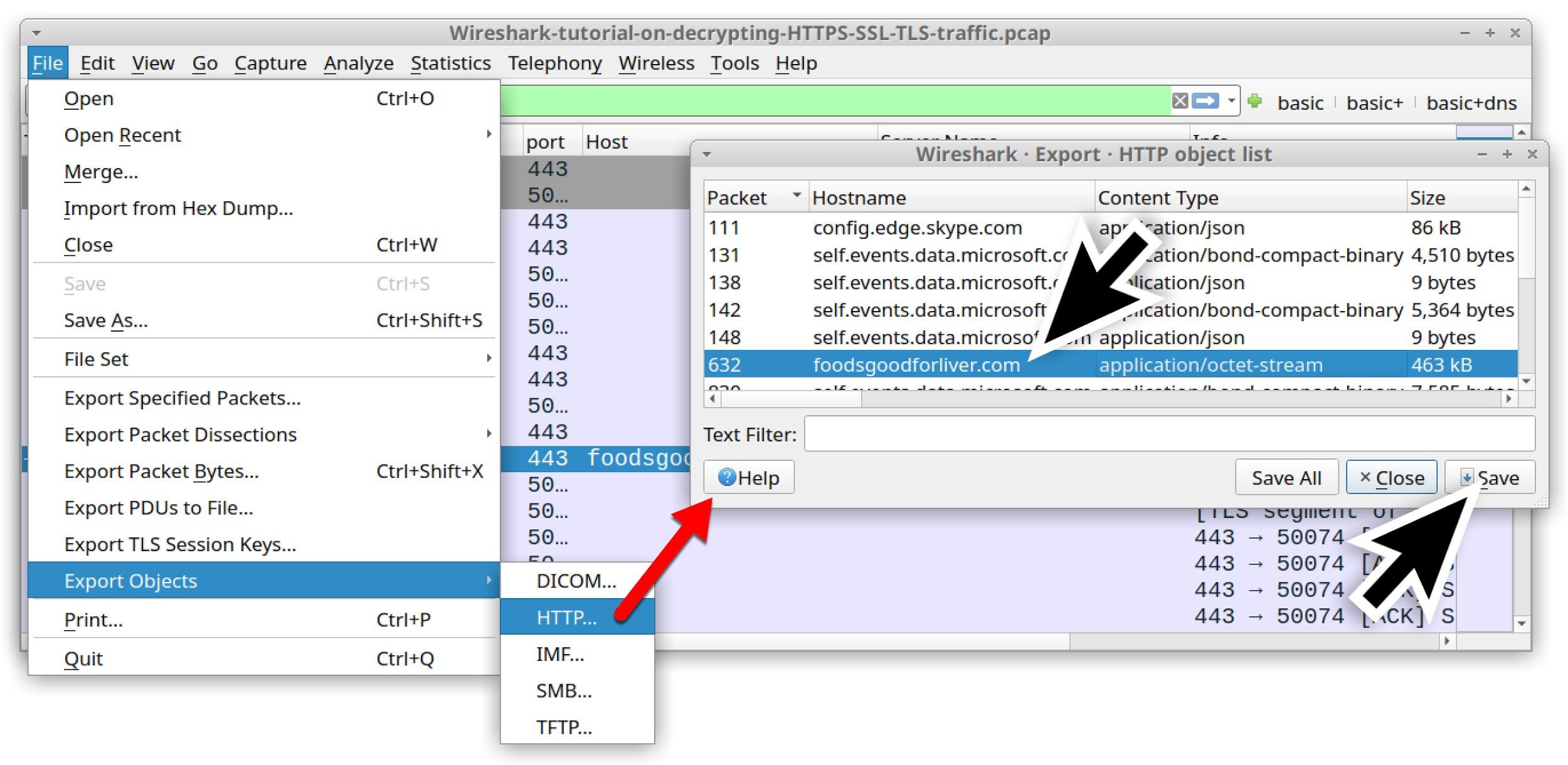 Wireshark-tutorial-on-decrypting-HTTPS-SSL-TLS-traffic.pcap のスクリーンショット。HTTPSトラフィックを復号化する今回のチュートリアル用マルウェア バイナリを一連の手順でエクスポートしているところ