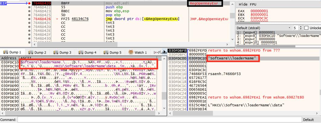 このステップは、loader.jseファイルがどのようにレジストリキーを開き、データ値に含まれるコードを実行するかを示しています。