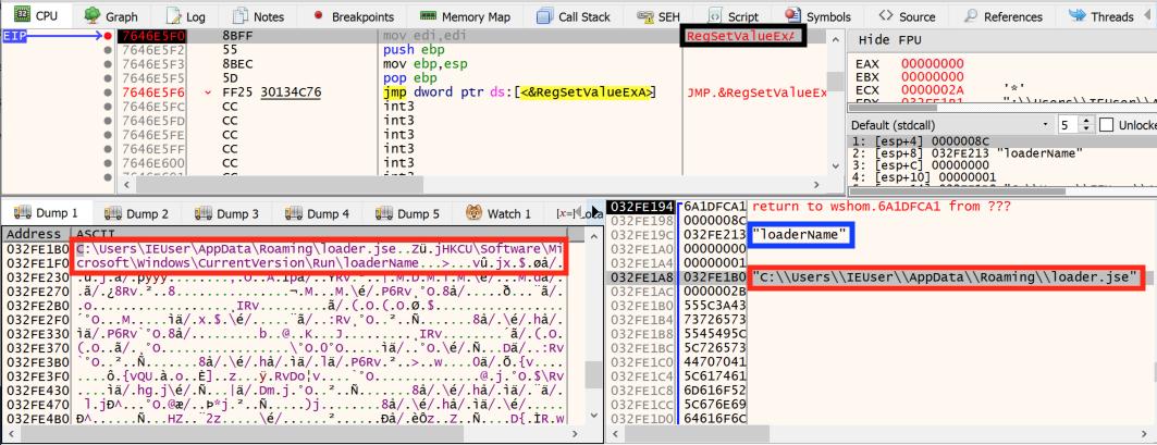 この図は、スクリプトにより、特定のloader.jseファイルのパスが設定されたレジストリキーの新しい値がどのように作成されるかを示しています。