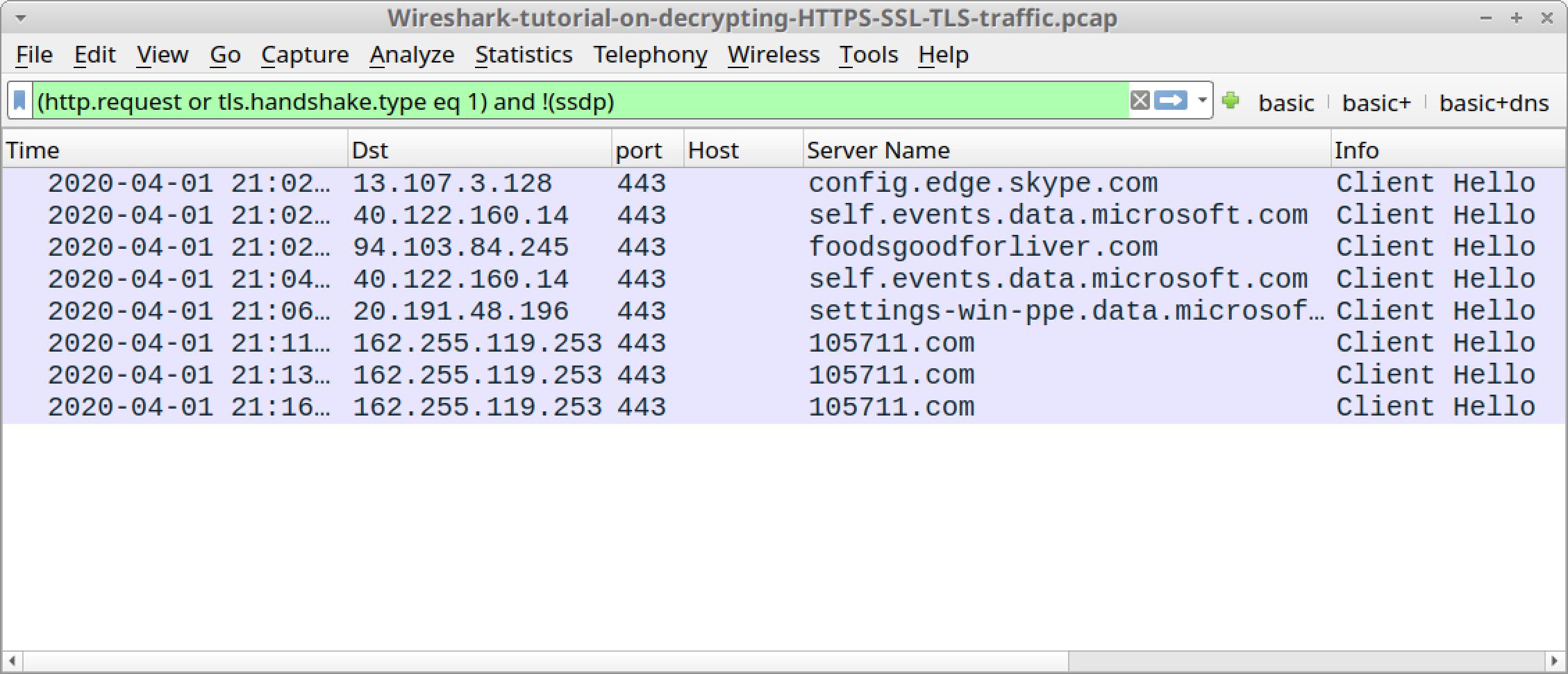 Wireshark-tutorial-on-decrypting-HTTPS-SSL-TLS-traffic.zip のスクリーンショット。チュートリアル用の pcap の HTTPS トラフィックをキー ログ ファイルによる復号化処理なしで閲覧した場合の見えかたを示したところ。