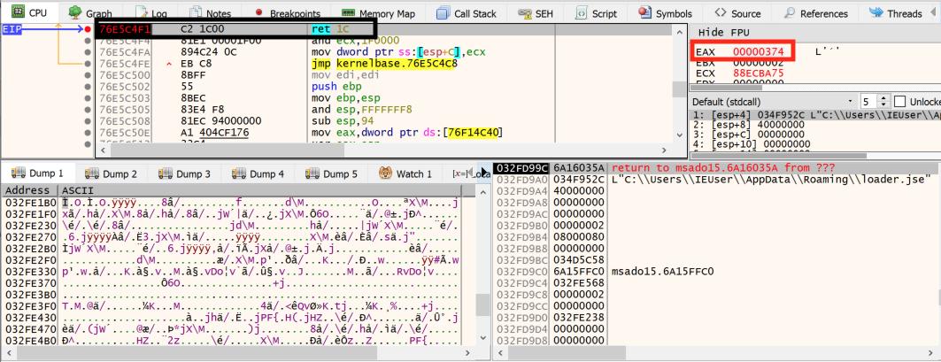 loader.jseファイルの作成後、c.jsスクリプトはこのファイルのオープンハンドルを使用して、この図に示すように、そのファイルにコードを挿入します。