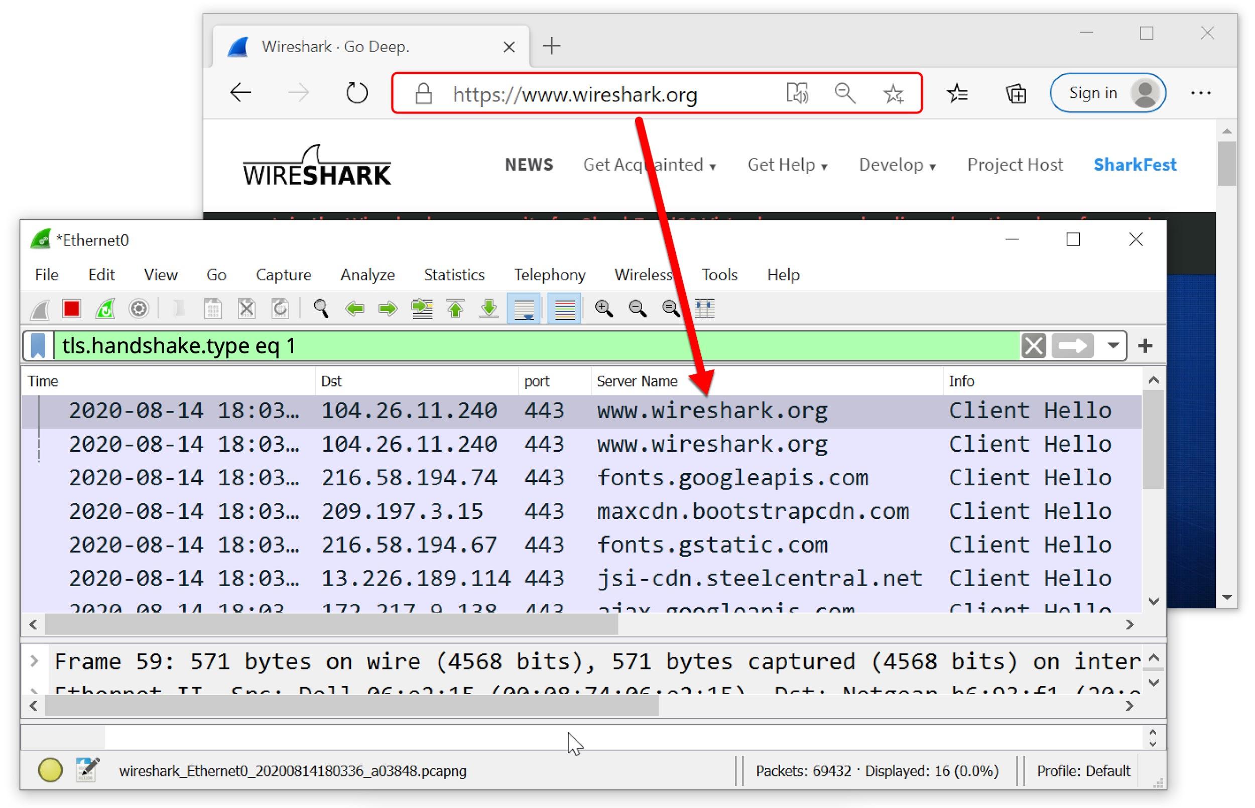 このスクリーンショットは、Webブラウザでhttps://www.wireshark.orgを表示したときに表示される内容とカスタマイズされたWireshark列表示で表示したときにpcapが表示する内容を示しています。