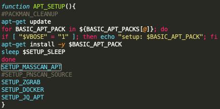 Black-TにおけるAPTパッケージマネージャのこのセットアップ例は、スキャン機能が重視されていることを示しています。セットアップには、massscan、pnscan (コメントアウト)、zgrab、Docker、およびjqのインストールが含まれています。