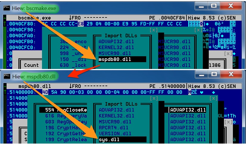 図6bscmake.exeがmspdb80.dllをインポートしそれがつづいてFarseerのsys.dllをインポートしている