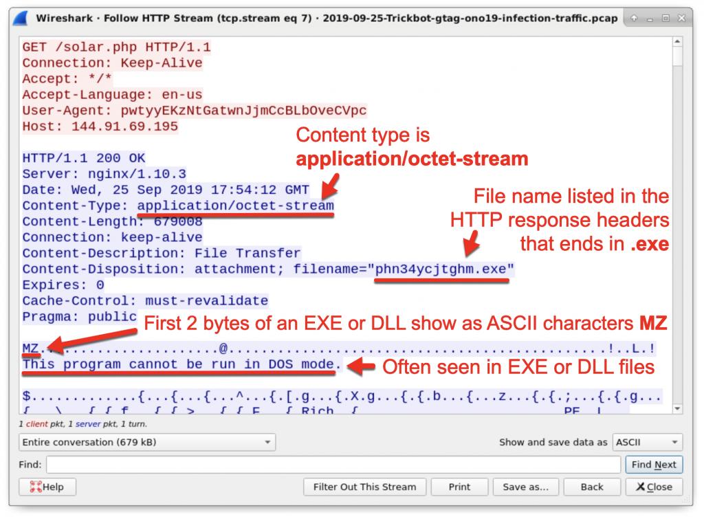 図9: 返されたファイルがWindows実行可能ファイルかDLLファイルであることを示す痕跡