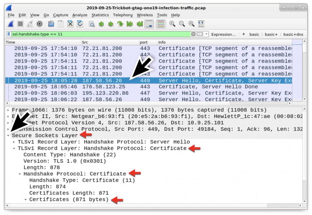 図13: HTTPS/SSL/TLSトラフィックで証明書データをフィルタリングし、最初の449/tcp宛フレームの詳細行を展開する
