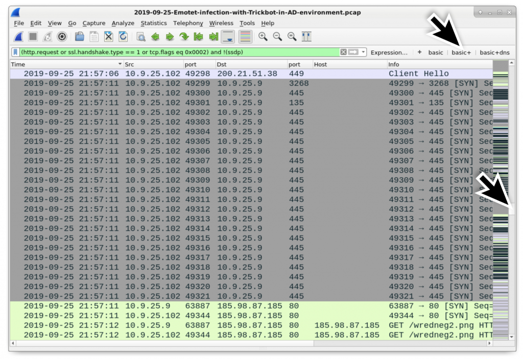 図27: DCが196.98.87[.]185/wredneg2.pngからTrickbotの実行可能ファイルを取得する直前、10.9.25.102のクライアントから10.9.25.9のDC(灰色で表示)へのトラフィックを検索