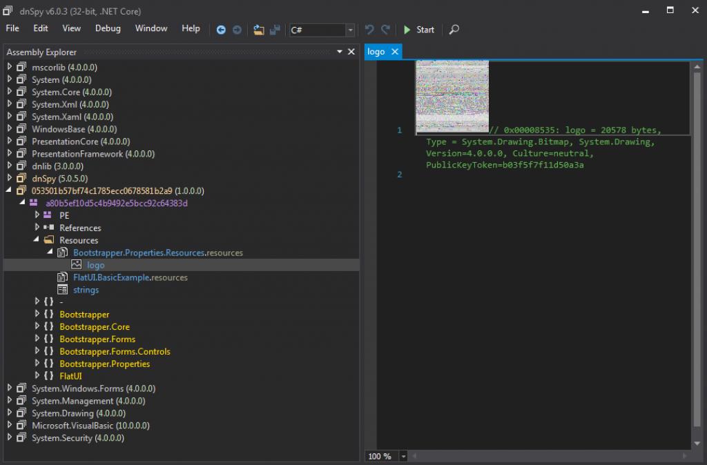 図1 .NETローダーに含まれている埋め込みBMPファイル