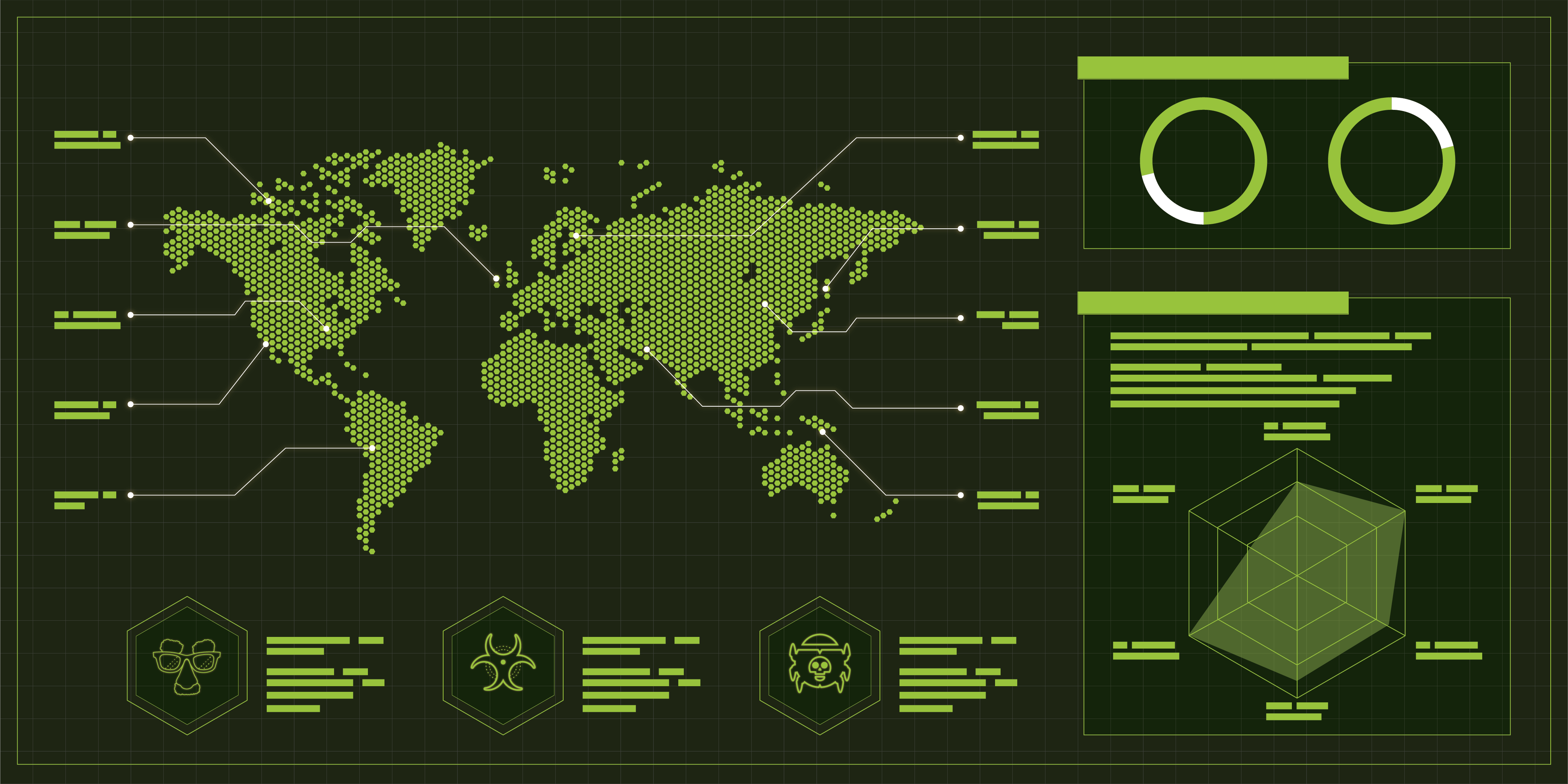 A conceptual illustration showing a world map along with icons representing malware and other tools used by malicious actors