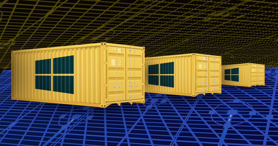 The image conceptualizes the idea of Windows Server Containers and related container security issues.