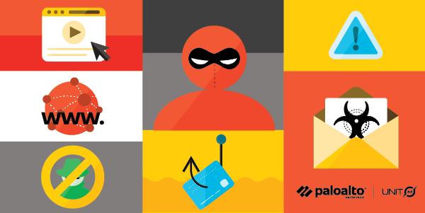 この画像は、よく知られたドメイン名やブランドをサイバー犯罪者が悪用する行為であるサイバースクワッティングの概念を表しています。