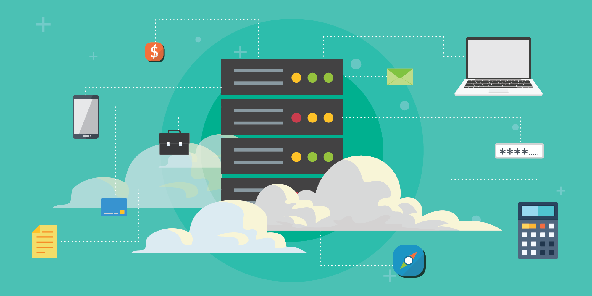 This conceptual image illustrates some of the security and configuration issues involved with the cloud, such as the issue with AWS resource-based policy APIs discussed here.